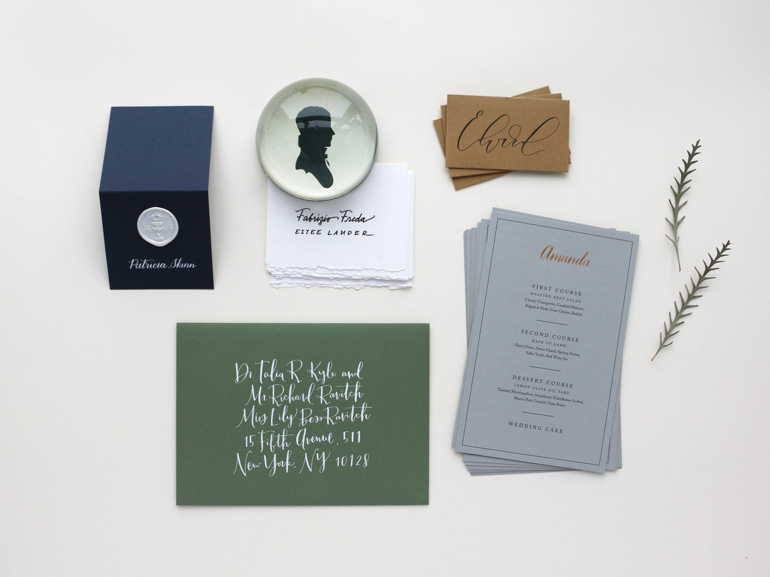 EVENT MATERIALS  Create a memorable experience for your guests by incorporating hand calligraphy and lettering into every aspect of your event, including invitations, envelope addressing, seating and signage, and more.