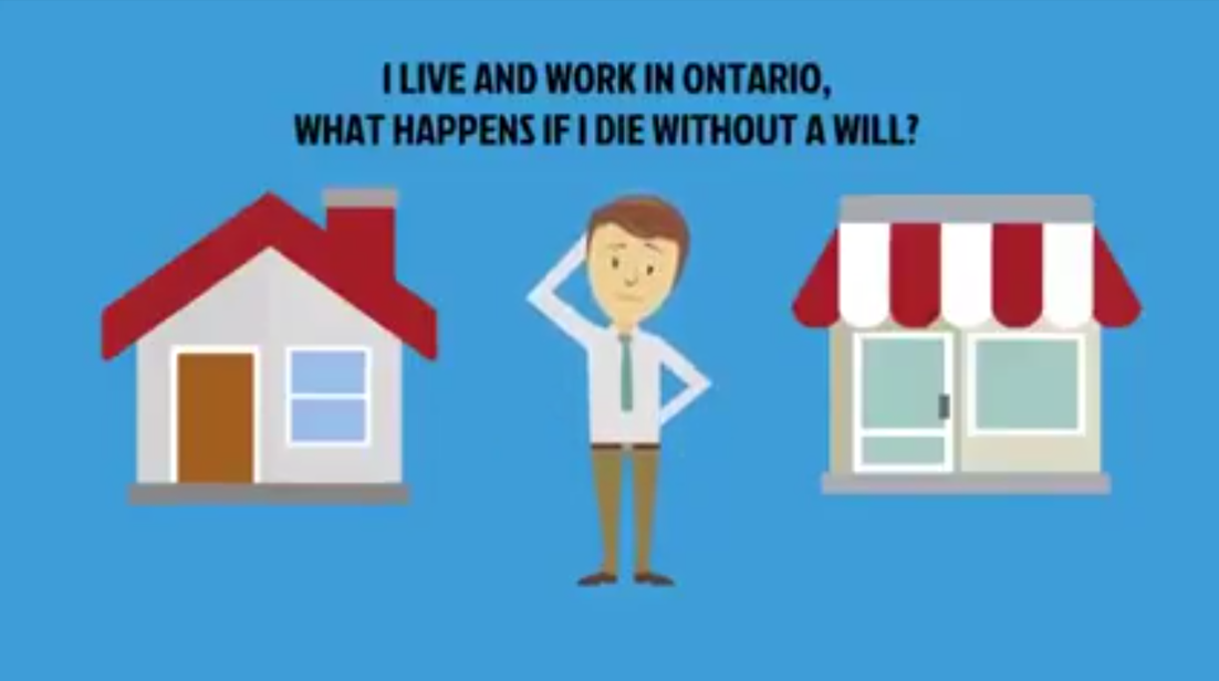 What Happens If I Die Without a Will?   Did you know, that according to a recent 2016 survey, 74% of Canadians still don't have a valid or up-to-date Will?  This video takes 3 minutes to explain what happens if you pass away without a Will and why you should meet with one of our lawyers to discuss your options.