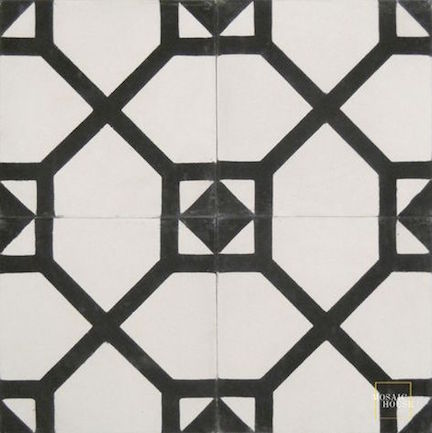 Bordeaux by Mosaic House- Black and White Cement Tile