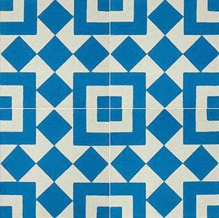 Fez by Granada Tile- Blue and White Cement Tile