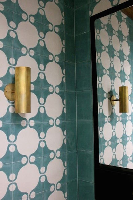 Green Rounded Cement Tile with Brass Light