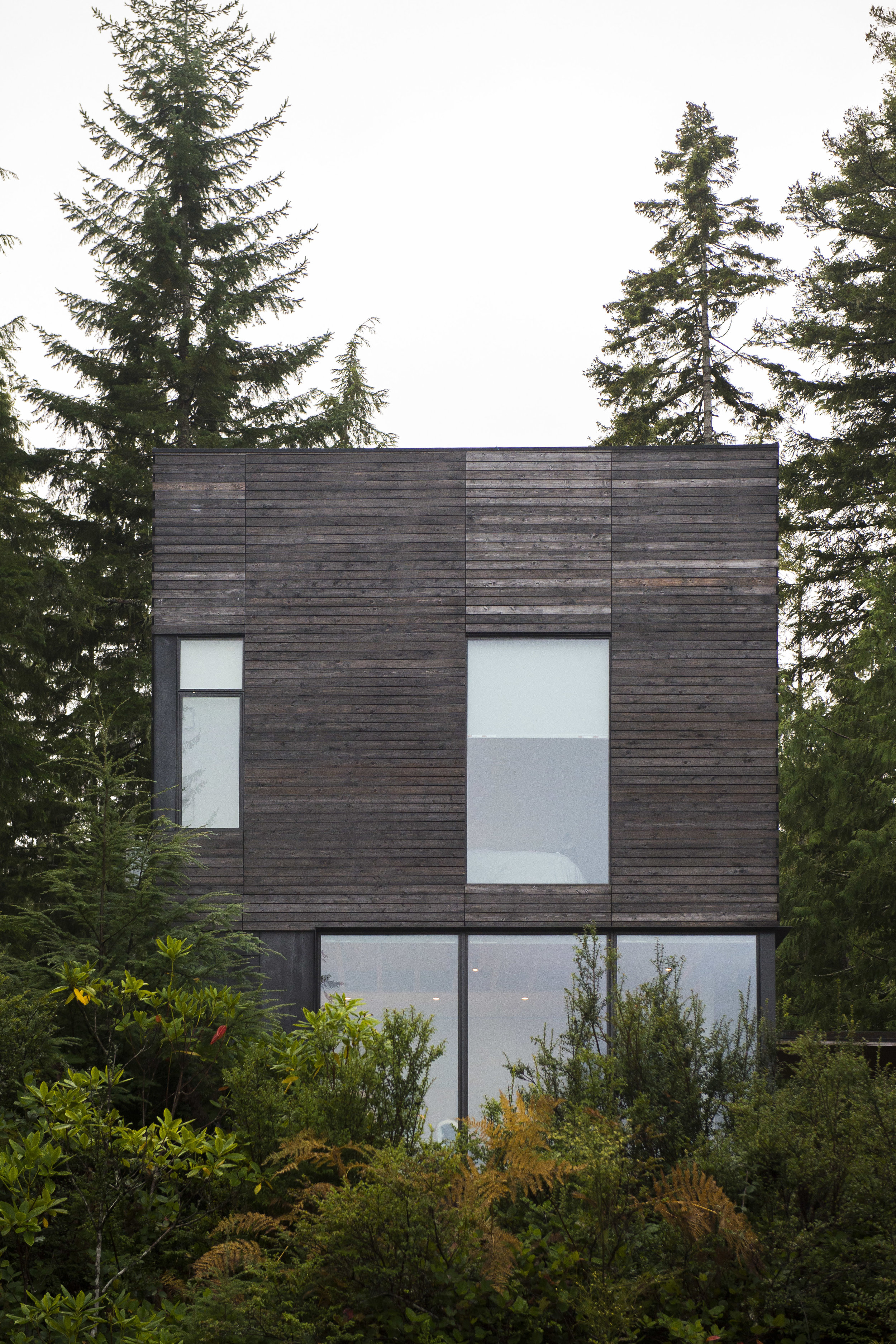 The Little House facade facing the steep slopes of the hood canal- Old growth forest surrounds the cabin.