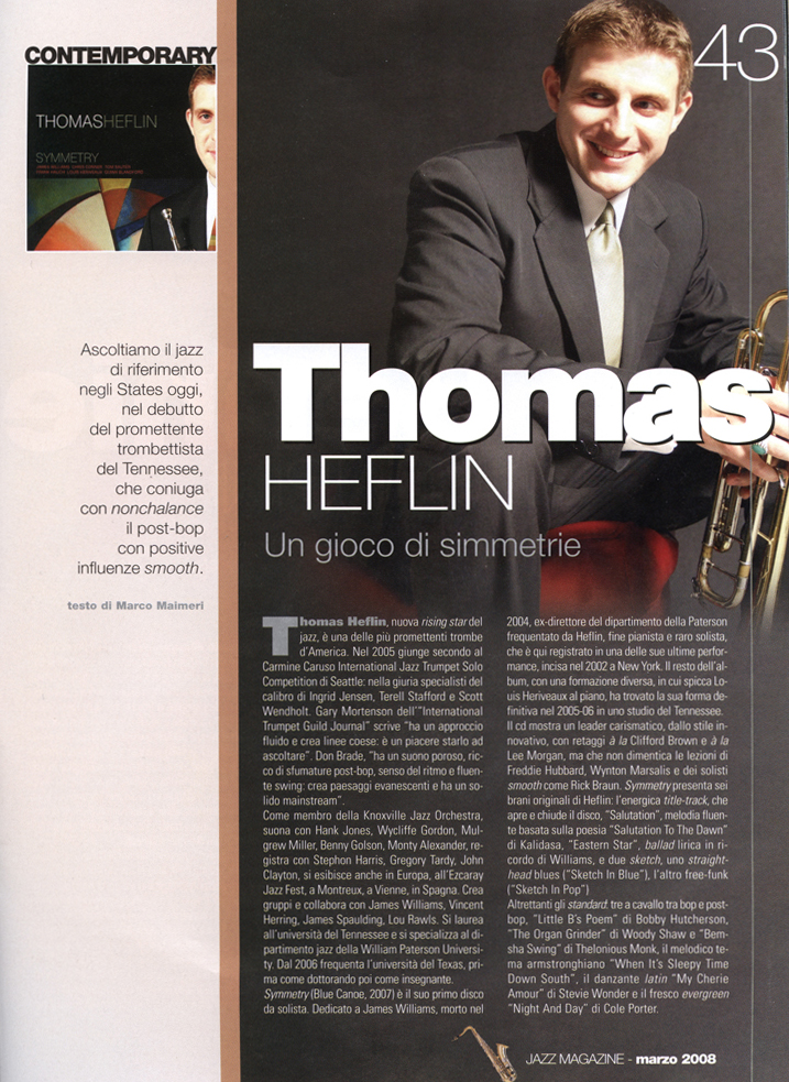Feature article on Jazz Magazine (Italy)