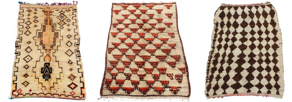Three Maroc Tribal Azilal carpets, mostly using soft or natural colours