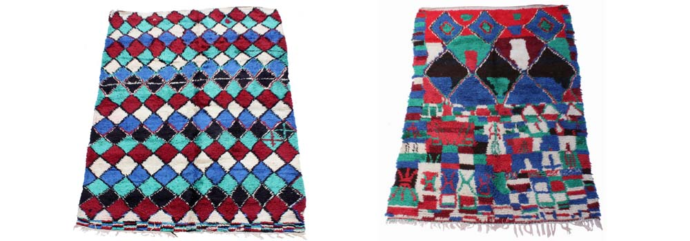 Maroc Tribal Azllal rugs showing how bolder and more vibrant colours were used