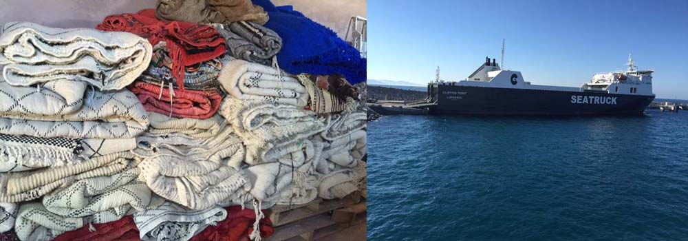 Vintage carpets are packed and then begin their journey to Maroc Tribal's base in the UK
