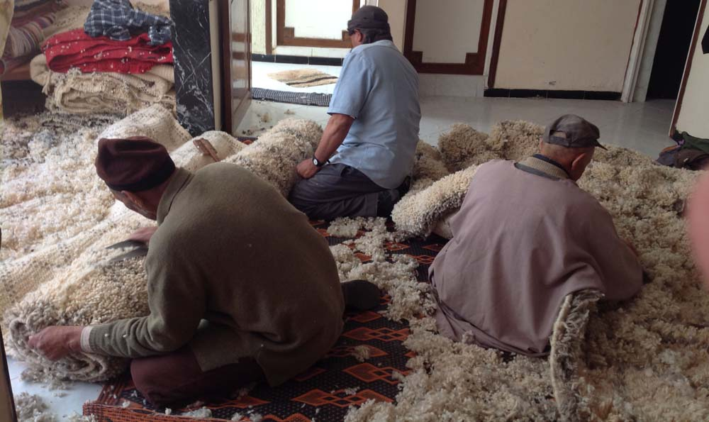 Carpet are repared, and some are trimmed to ensure the pile is soft and silky