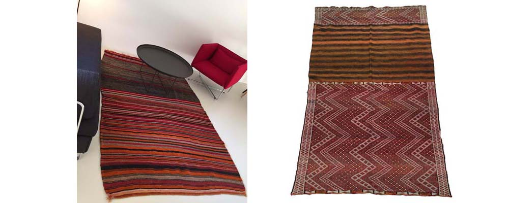 Left, a Maroc Tribal kilim that was woven as a grain bag. We opened it up to make a rug. Right, another grain bag that has been opened and is for sale