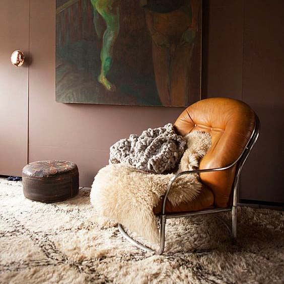 A Maroc Tribal vintage Beni Ouarain carpet in designer  Abigail Ahern's  home