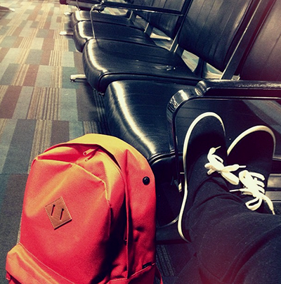 Waiting in for a flight in LGA