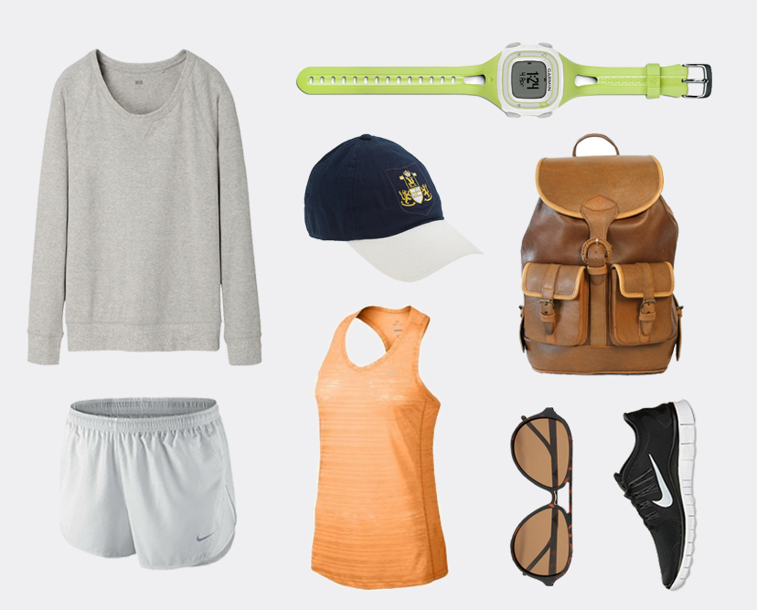 Stretch Jersey Long Sleeve Pullover in Gray  $14.95 UNIQLO , Nike Modern Tempo Embossed Running Shorts  $40 NIKE , Crest Baseball Cap  $39.50 J.CREW , Nike Dri-FIT Touch Breeze Tank in Atomic Mango  $35 LADY FOOT LOCKER , Garmin Forerunner 10 GPS Watch in Green  $129.99 AMAZON , Nike Free 5.0 Running Shoes in Black  $100 FINISH LINE , Santa Cruz Classic Backpack  $245 Wolf & Badger , Aviator Glasses  $25 M&S
