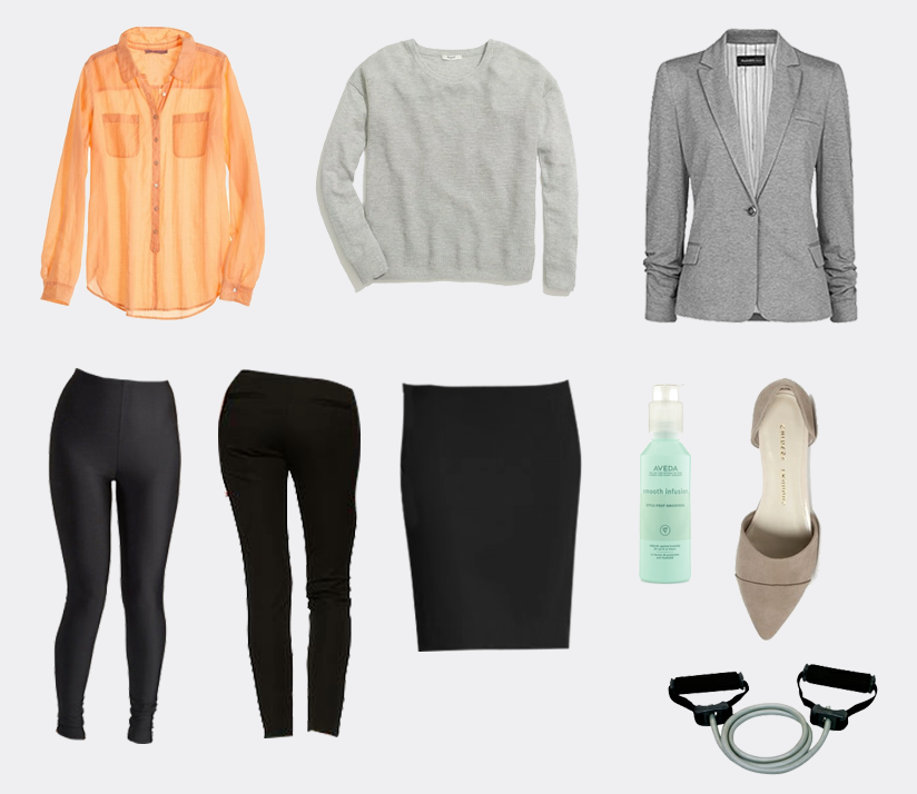 Kesari Cotton/Silk Blouse in Melon  $109 Calypso St. Barth , Cobblewalk Pullover in Gray  $70 Madewell , Mango Jersey Blazer in Gray  $67 House of Fraser , You're the One that I Flaunt Leggings in Black  $24.99 ModCloth , Ultra Skinny Pants in True Black  $59.95 Gap , Sloan Pencil Skirt in Black  $79.50 Banana Republic , Smooth Infusion Style-Prep Smoother  $24 Aveda , Chinese Laundry Easy Does It Flat in Taupe  $59.95 Nordstrom , Rejuvenation Pro Resistance Tube  $19.99 Dick's Sporting Goods