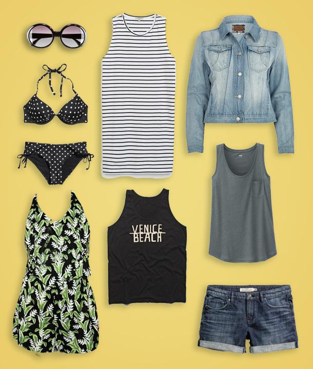 Sunglasses  $7.95 H&M , Polka Dot Bikini Top  $17.95 H&M , Polka Dot Bikini Bottoms  $12.95 H&M , Striped Cotton Dress  $39.90 Zara , Light Wash Denim Jacket  $70 River Island , California Palm Print Frill Halter Beach Playsuit  $38.11 ASOS , We Are All Smith Venice Beach Tank  $32 BlueFly , Linen Blended Tank  $12.90 Uniqlo , Denim Shorts  $29.95 H&M