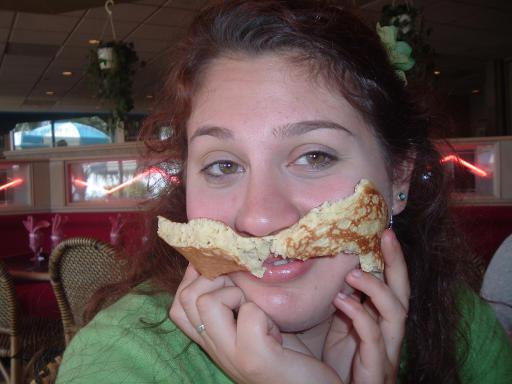 My bud Jess, enjoying a simply elegant pancake.