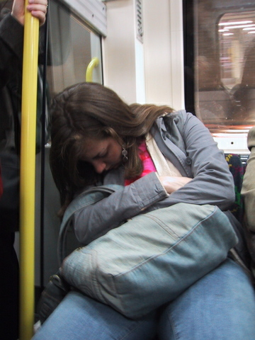 Asleep on the London Tube, circa 2005. There is an unsurprising but alarmingly large number of photos of me like this throughout my study abroad semester. Thanks friends.