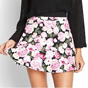 Rose Print Skater Skirt
