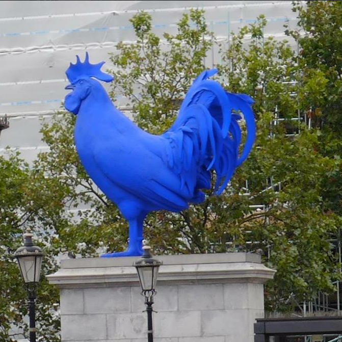 An inexplicable blue rooster.