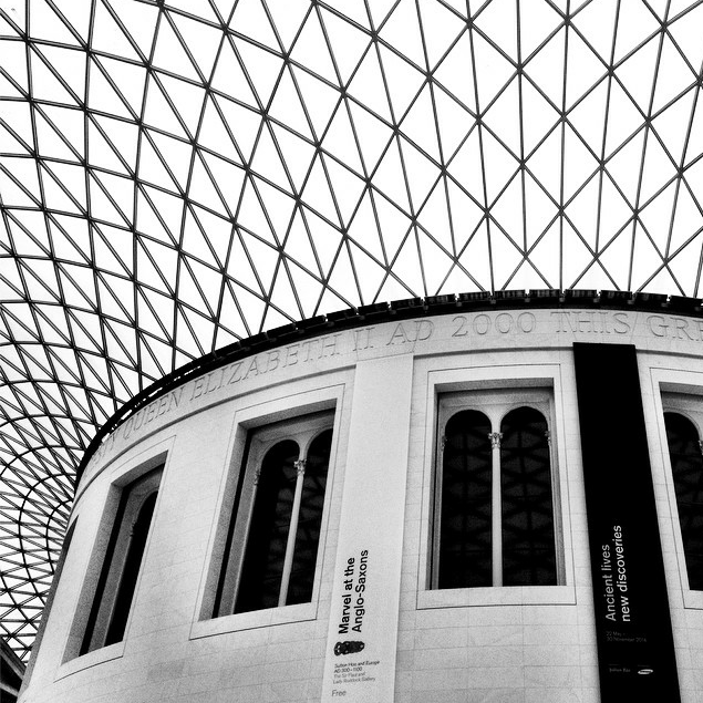 The inside of the British Museum.