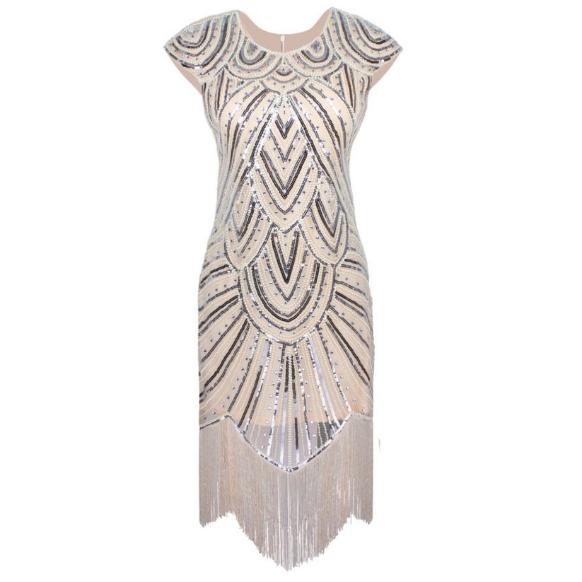 Embellished Fringed Flapper Dress