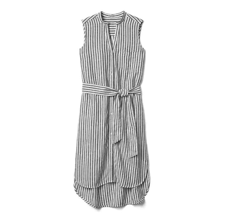 Linen sleeveless stripe shirtdress
