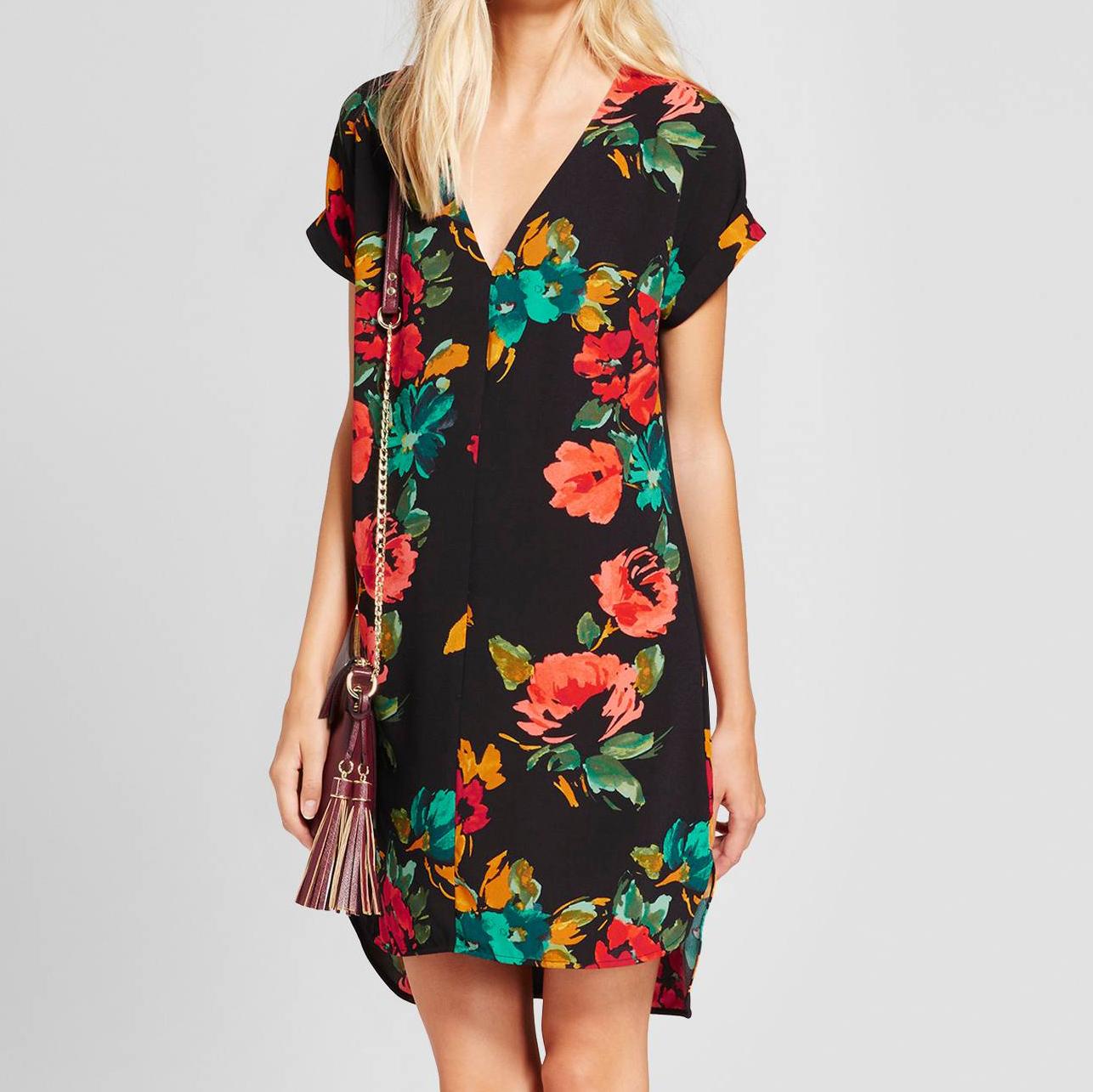 Floral Short Sleeve Crepe Dress