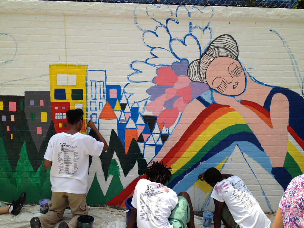 ... the mural starts to take form