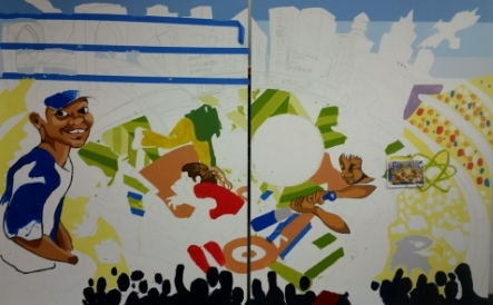 """""""Field of Dreams,"""" a mural designed by CAW and painted by Harlem RBI Participants."""