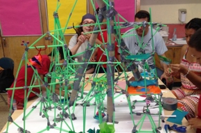 Students in the JCC Math and Literacy Camp produced towers and spires based on ancient Egyptian monumental structures.