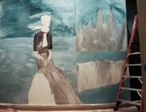 Elizam Escobar's  mural in progress at The  Julia de Burgos Latino Cultural Center . Photo copyright MonumentArt.