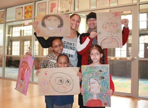 Making art as a family.Back row: Magdalena and Ariel; front row: Nandi, Percy and Idalis.