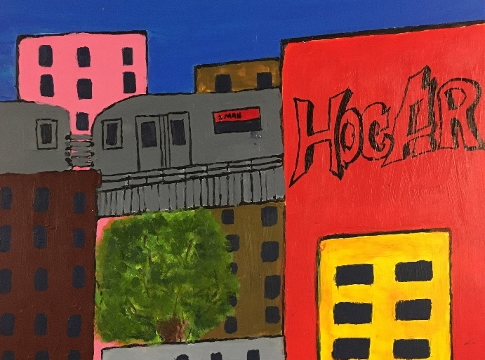 Hogar (Home) - This piece symbolizes all the hard work that comes with adaptation. The colors go from dark to light to show the struggle everyone goes through when moving to a foreign country, but at the end there is hope and that there is a paradise.- Juan Cruz