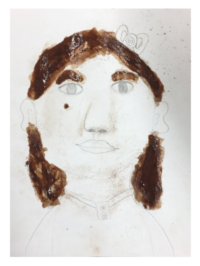 Sensory Art -- Cocoa powder portrait