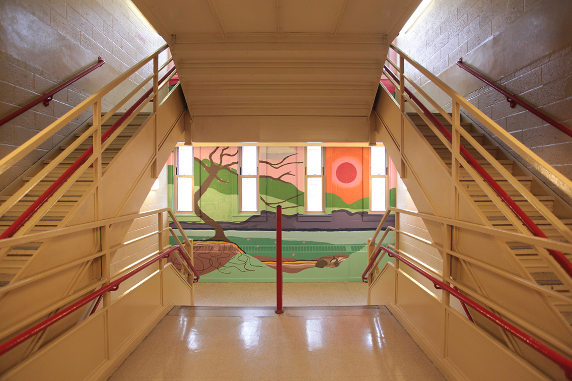 High school students at  Global Learning Collaborative High School painted two stairwell murals as part of a spring 2017  Creative Art Works  out-of-school time program, implemented as part of the  NYC Department of Health and Mental Hygiene's Mental Health by Design (MHxD) Initiative  funded by   ThriveNYC  .