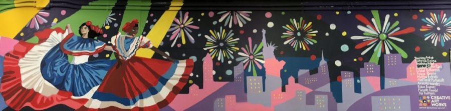 New York Night Lights,  the new mural by CAW students in an after-school mural painting program at Hamilton Grange Middle School