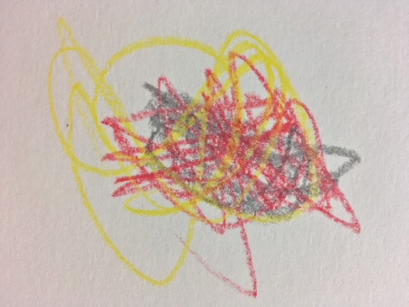 Gray represents sadness, red represents anger, and yellow represents confusion. Christopher's drawing made shortly after an argument
