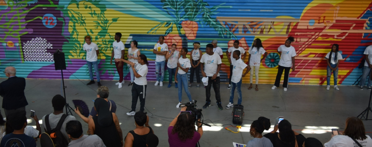 The official unveiling of the mural on August 9th, 2018