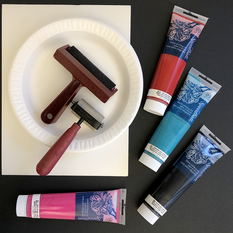 Rollers (brayers), water-soluble block printing ink, foam sheets or foam plates