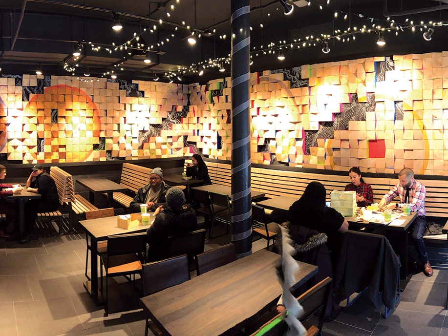 On the Block:   The interior art was completed in time for the grand opening of Shake Shack 125th Street in January 2019.