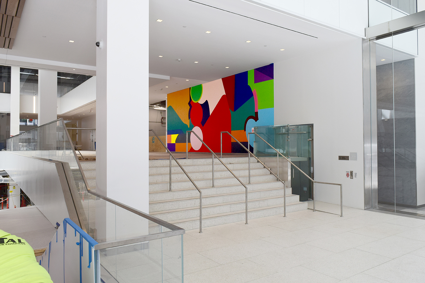 """Oasis,"" Creative Art Works' new mural in the food hall at 601 Lexington Avenue, as seen from the 53rd Street entrance. The artwork will be visible from a multitude of perspectives within the space and from the street."
