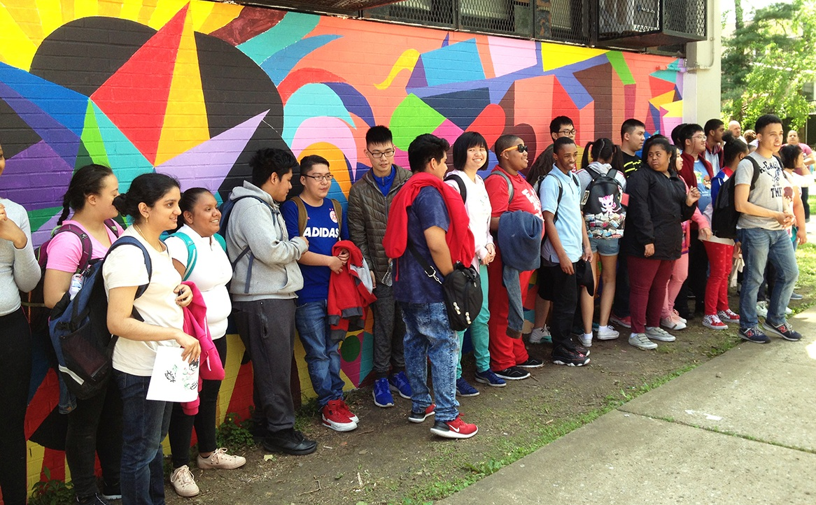 Students in the    Adaptive PE    class at    FDR High School    in Brooklyn at the unveiling of the    active design Mural    they helped to create