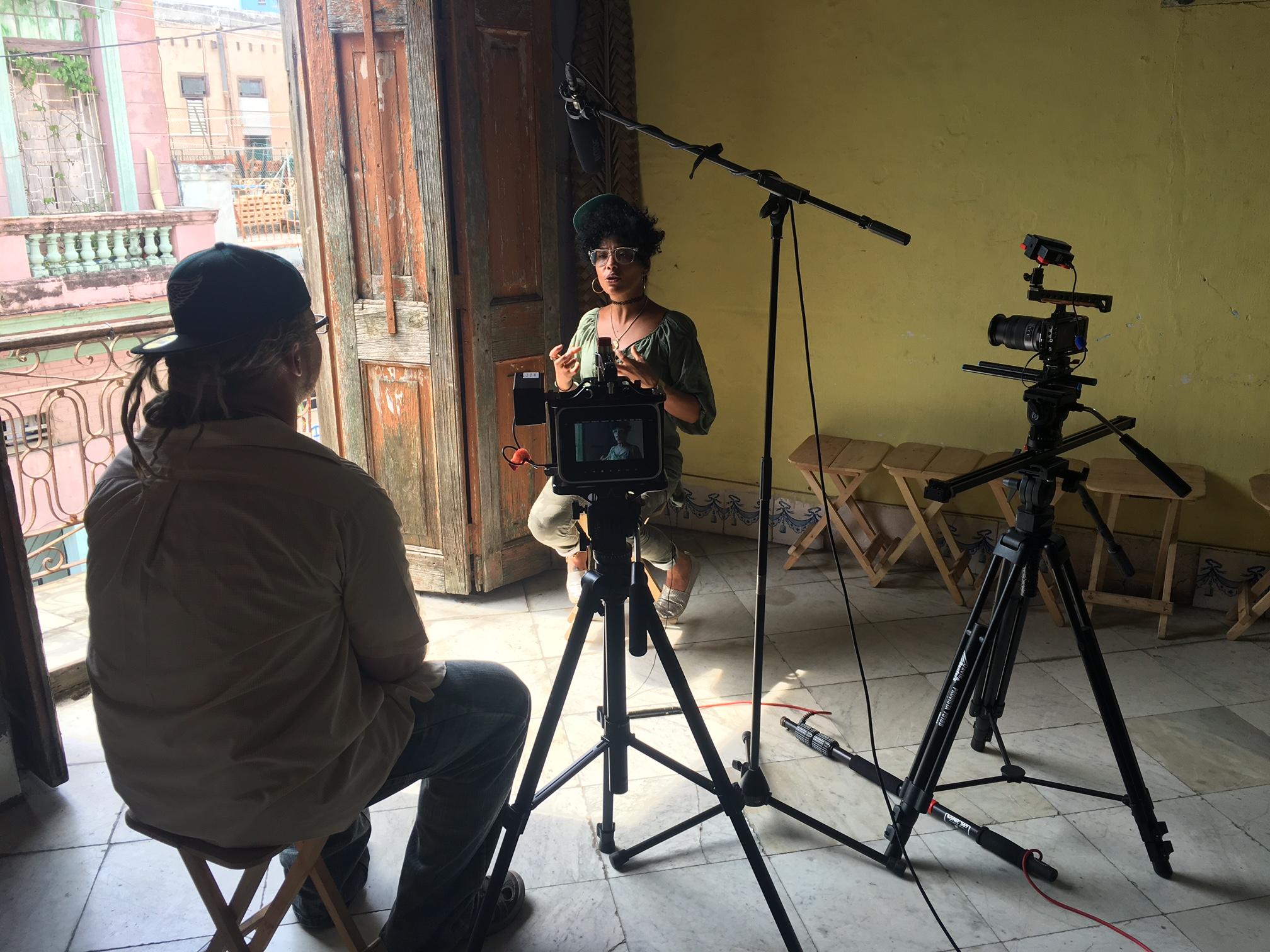 Zander interviewing DJ Leydis for our film Hip Hop: Esta Vivo en Cuba