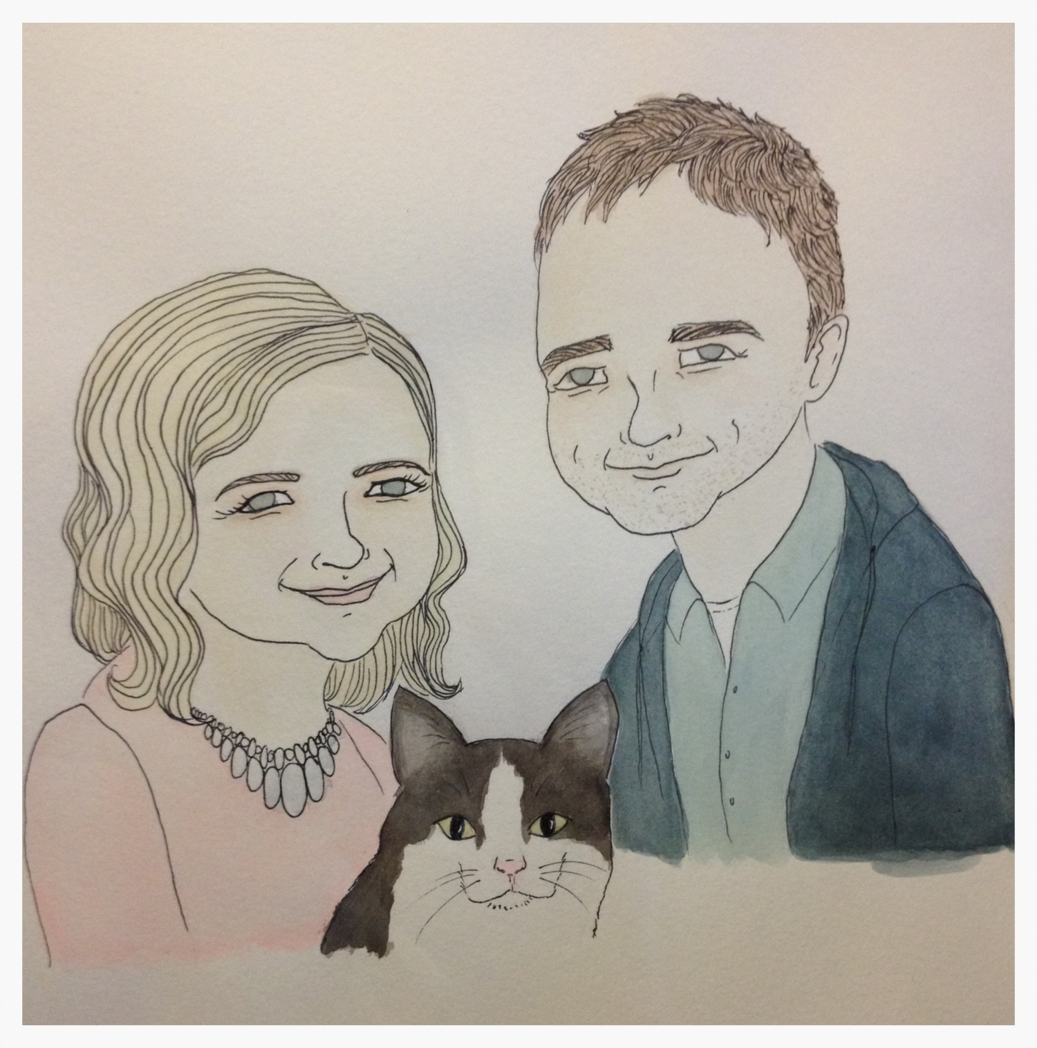 Pen and watercolor painting of Walter, Siggy, and me by  Diana Shafer .