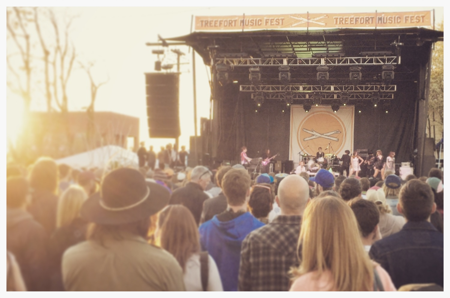 Foxygen playing the main stage at sunset.