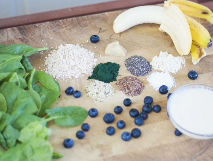 Here are all of the ingredients that I put into my go-to 'Morning Buzz' smoothie! You can find the recipe in  Part 3 of this series!