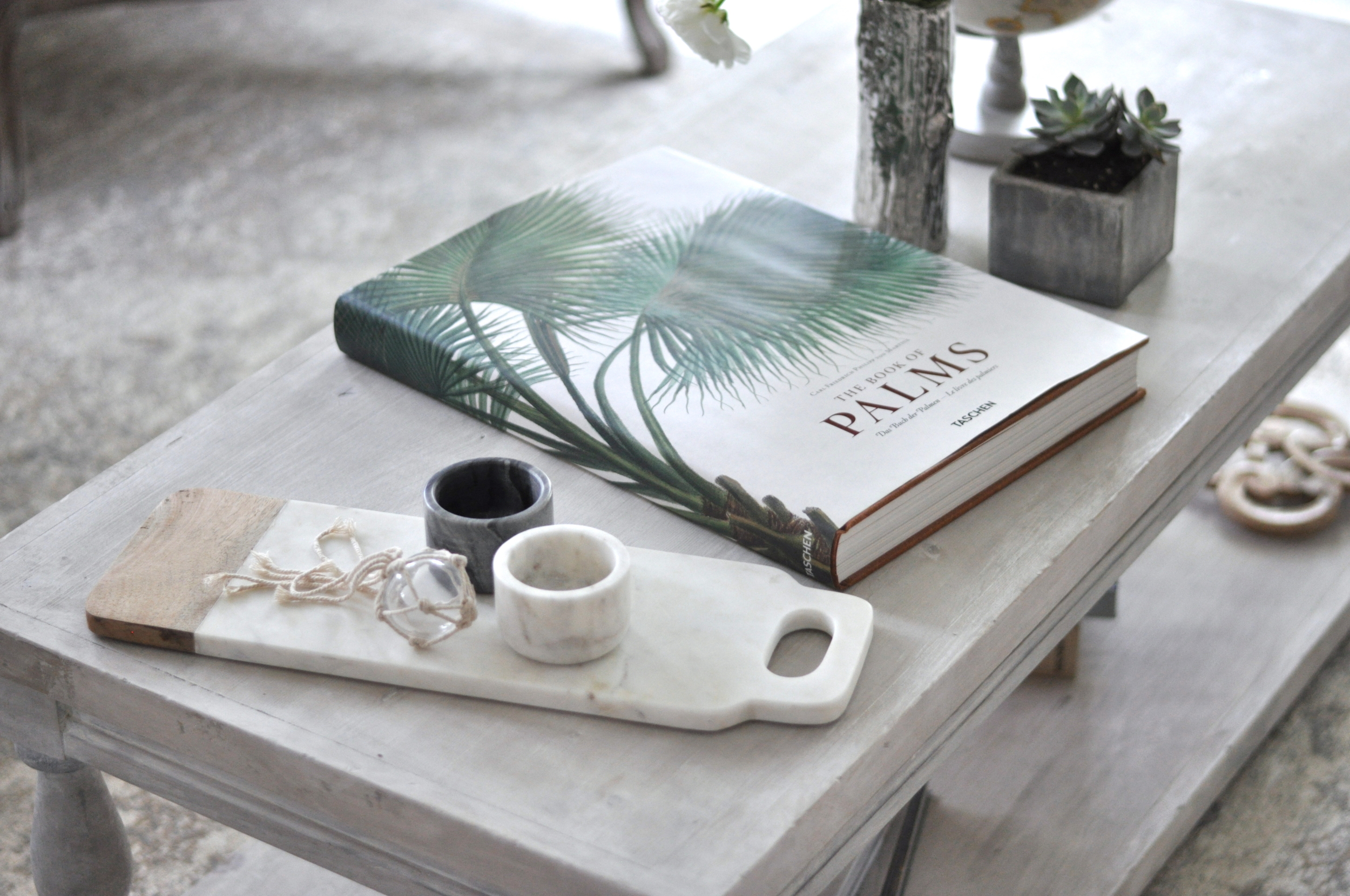 An Encyclopedia of Palms + Marble Accessories + Decorative Buoys Add a Tropical Touch
