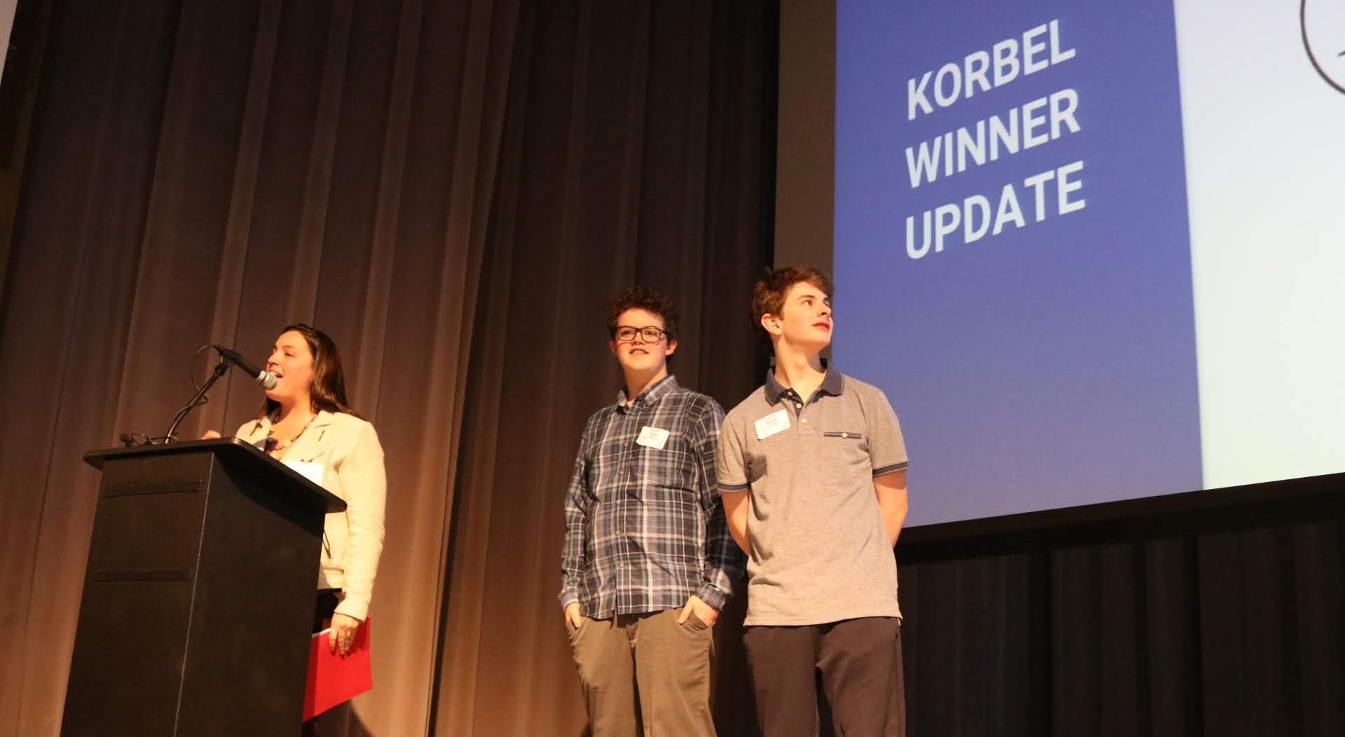WAC Program Director, Hope Mukai and 2018 WAC winners from Mackintosh Academy, showcasing their project updates.