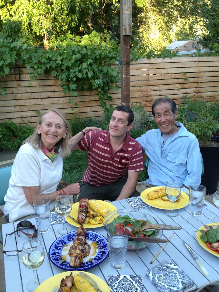 Yass Hakoshima, his wife Renate Boue and Nathan in 2013.