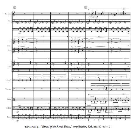 """""""Pieter C. van den Toorn attributes the 'effect' of Rite of Spring on listeners, to 'the raw, relentless character of the dissonance,' and it's the fourth section, 'Ritual of the Rival Tribes,' that introduces Stravinsky's massive stratification…"""" - Kate Mattingly"""