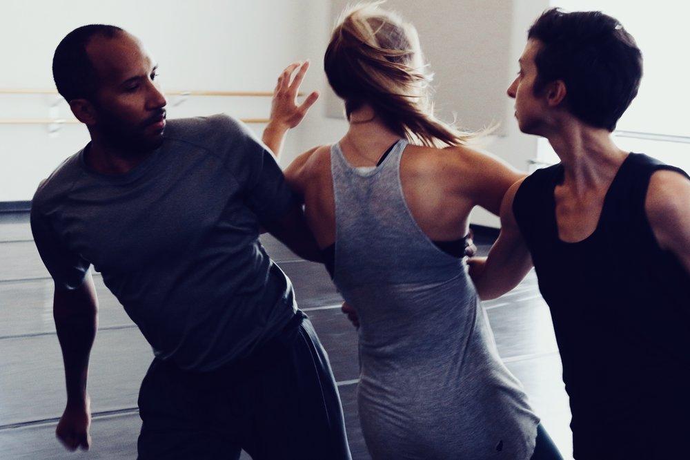 Dancers Liz Ivkovich, Sydney Sorenson, and Jo Blake