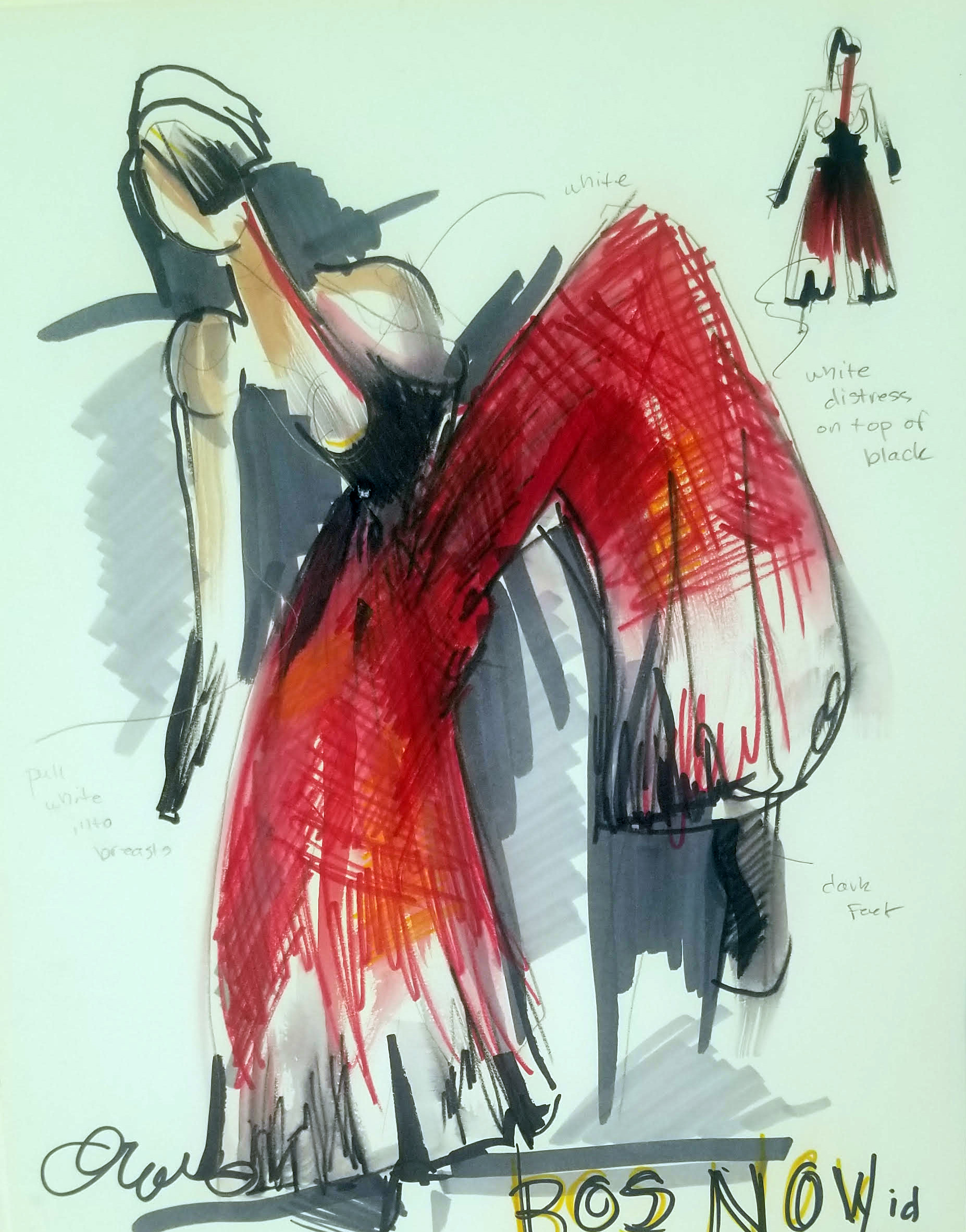 Drawings above by costume designer Mallory Prucha.